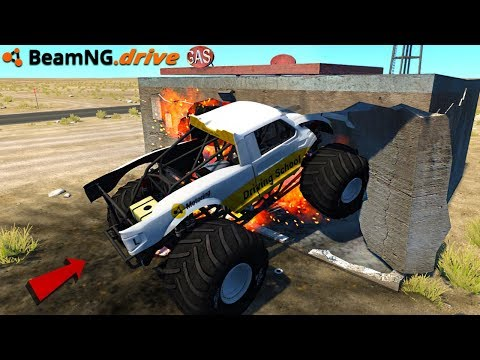 MONSTER TRUCK CRUSHES GAS STATION - BeamNG.drive