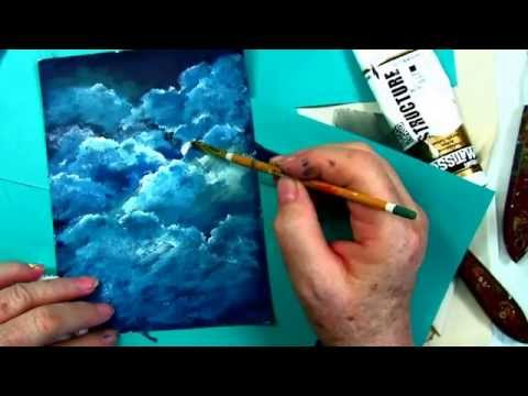 How to Paint Clouds tutorial. free  step by step cloud tutorial by : Ginger Cook