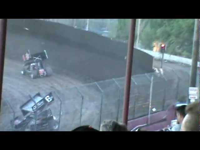 crash on front straight Antioch Speedway King of The West 410 Sprint Cars 7-21-12