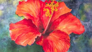 Hibiscus flower watercolor tutorial, an easy step by step lesson