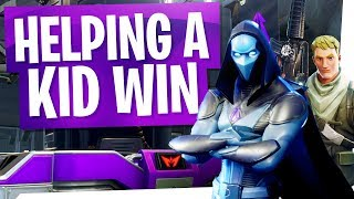 Little Kid gets his FIRST Duo Win LIVE w/ Reaction - Fortnite Random Duos