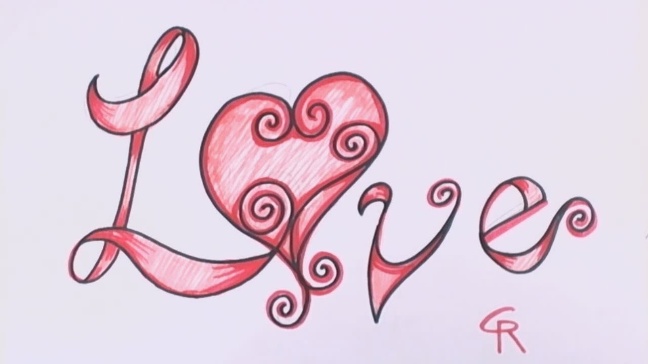 How to Draw Love in Fancy Letters - Curly Letters with a ... | 1280 x 720 jpeg 60kB