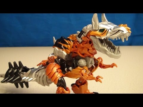 TRANSFORMERS 4 GRIMLOCK VOYAGER CLASS AGE OF EXTINCTION VIDEO TOY REVIEW