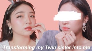 Doing my Twin sister's makeup 🙈🍑