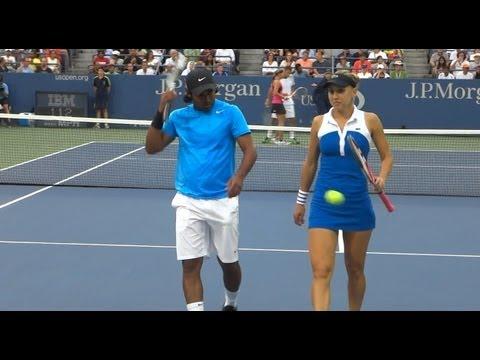 Leander Paes and Elena Vesnina US open 2012 Mixed doubles quarter final