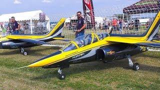 GIGANTIC 110 KG!!! RC SCALE MODEL AIRPLANES JETS!! *TWO RC ALPHA JETS IN FLIGHT DEMO!!