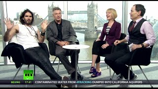 Keiser Report set, Max and Stacy with Alec Baldwin and Russell Brand
