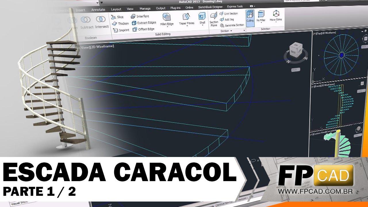 Aula de autoCAD 3D - Escada Caracol parte1-2 - YouTube
