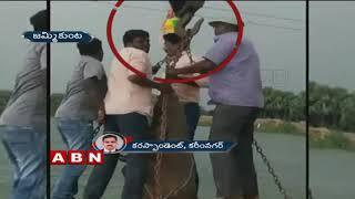 గణేష్ నిమజ్జనంలో అపశ్రుతి | Crane wire breaked while ganesh immersion | 3 wounded | Karimnagar