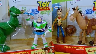 Andy's Toys from Toy Story with Woody and Bullseye and Buzz Lightyear and Rex
