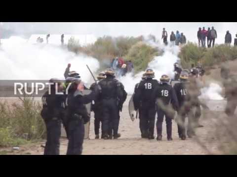 Франция 01 10 16 France  Столкновения полиции с мигрантами в КАЛЕ