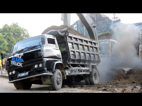 All Overloaded Dump Truck Stuck Recovery By Excavator