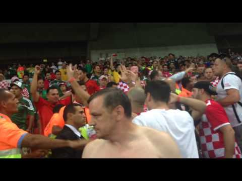Crazy fight at 2014 World Cup in Recife, Brazil: Croatia v Mexico Pt.1