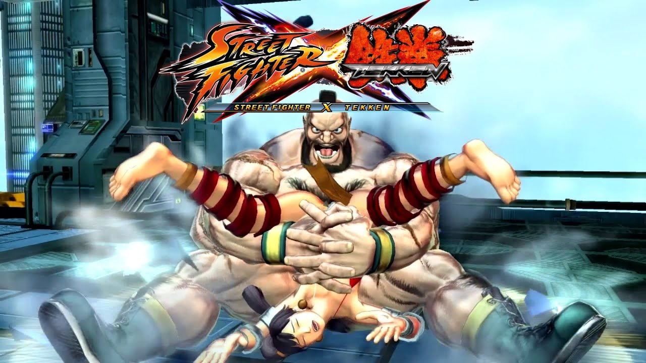 street fighter x tekken - zangrief piledriver and super-arts on  u0026quot bikini u0026quot  xiaoyu