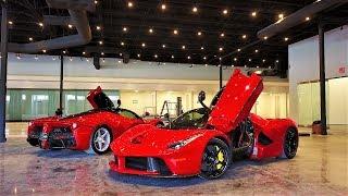 Two Ferrari LaFerrari vs Drone behind the scenes inside new Supercar home Prestige Imports Miami
