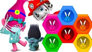 Trolls Movie Poppy Plays Hide and Seek With Paw Patrol Beehive Learn Colors Playset
