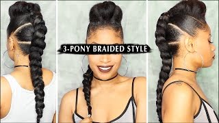 DOPE 3-PONY BRAIDED STYLE 🔥 | Tutorial