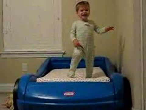 Toddler Falls Out of Little Tykes Car Bed - YouTube