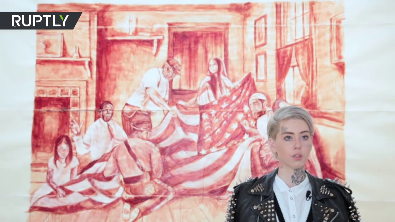Human blood anti-Trump painting unveiled in LA