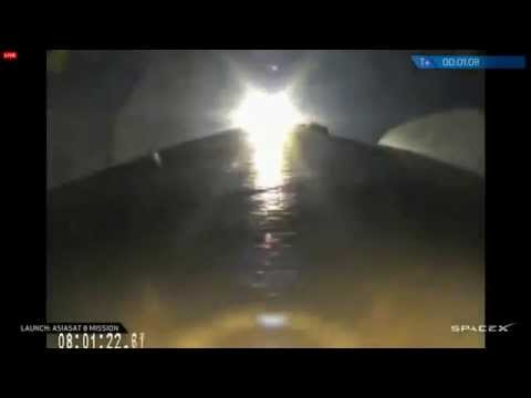 SpaceX Falcon 9 Satellite Launch - AsiaSat 8, T  1 Minute, Aug 5, 2014