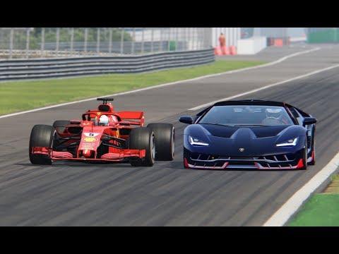 Ferrari F1 2018 vs Lamborghini Centenario - Monza