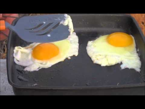 Cooking Bacon & Eggs with the NEW! Ultra-Light Wood-Burning Backpacking Stove. Folding Firebox Nano