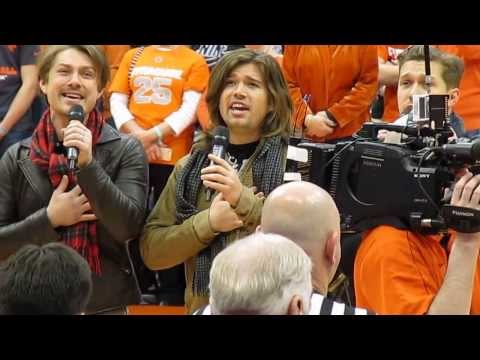 Hanson singing the National Anthem, Carrier Dome Syracuse, NY 12-31-13