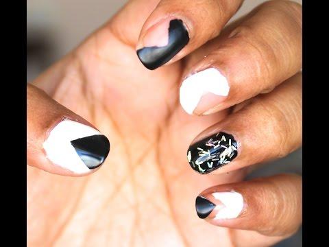 Negative Space Monochrome Nails