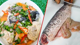 Yummy Cooking Fish Soup with Vegetables, Asian Food Cooking Recipe