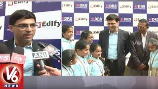 Indian Chess Grand Master Vishwanathan Anand Interacts Wih Students In Hyderabad