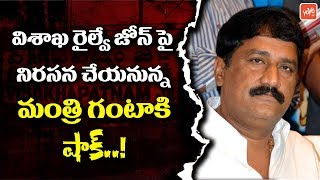 TDP Minister Ganta Srinivasa Rao Protest for Railway Zone in Visakhapatnam