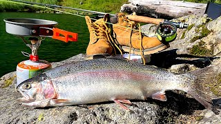 MONSTER Trout Catch & Cook!!! 48h SURVIVAL in the Mountains! (AquaView Fishing)