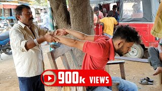 Street Barber head massage with neck cracking | Indian Massage