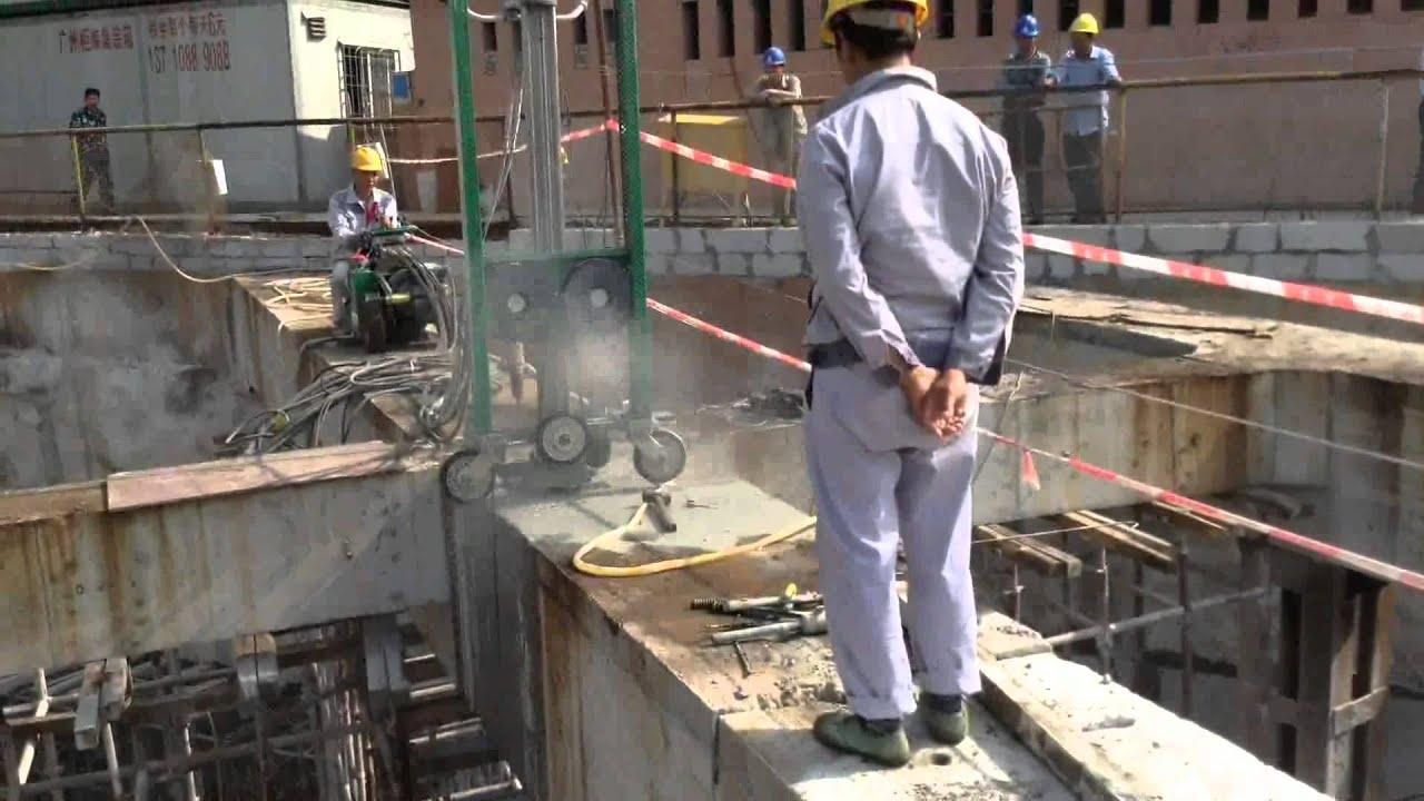 Tall Concrete Wall Saw Cut : Concrete wire cutting machine saw