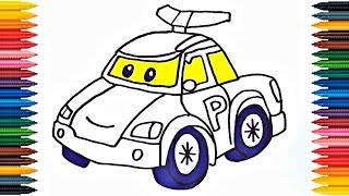 Drawing Car Poli How to Draw Police Car Colors Picture Coloring Book Police Car Robocar Poli