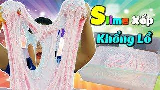 LÀM SLIME XỐP KHỔNG LỒ TỪ 5KG KEO SỮA & 50 CHAI HỒ NƯỚC - Giant Foam Slime ASMR