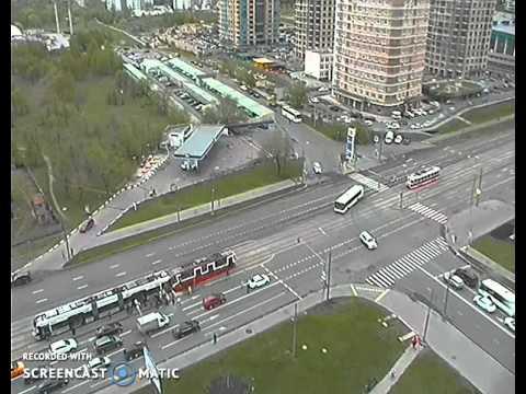 ДТП с трамваем в Строгино 05-05-2016