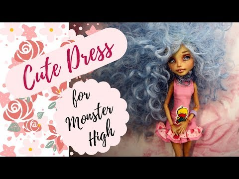 Super Cute Monster High Doll Dress / Easy / DIY Tutorial / How To Make Frankie Stein Repaint