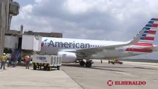 Así fue la llegada del vuelo inaugural de American Airlines a Barranquilla