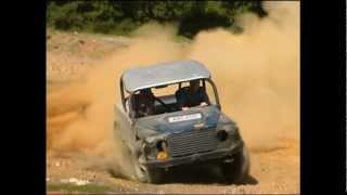 Extreme 4x4 Land Rover V8 Defender Rally drifting off road. Awesome Sounding V8, huge jump.