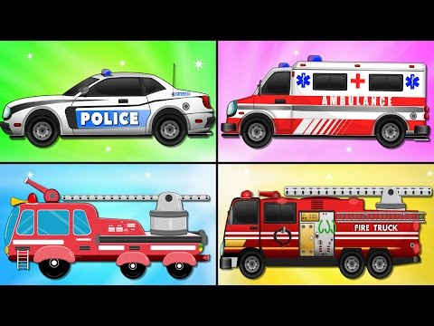 Fire Truck Police Car Emergency Vehicles and Ambulance in Car Garage - Kids Videos