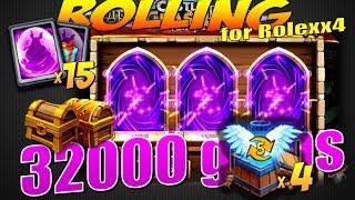 Битва Замков, Роллинг 32000 самов, 4 коробки 5лвл, 15 лег карт и сундуки, Castle Clash