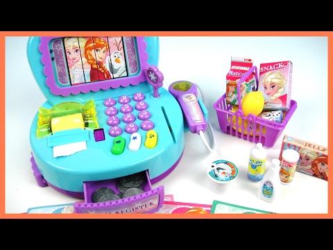 玩迪士尼 冰雪奇緣 玩具收銀機 玩具鈔票 超市 購物 結帳台 小小兵俄羅斯娃娃  驚喜蛋 玩具開箱
