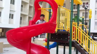 Children Playing in the Park Outdoor Playground Slides Roundabout Kiddos Play Place