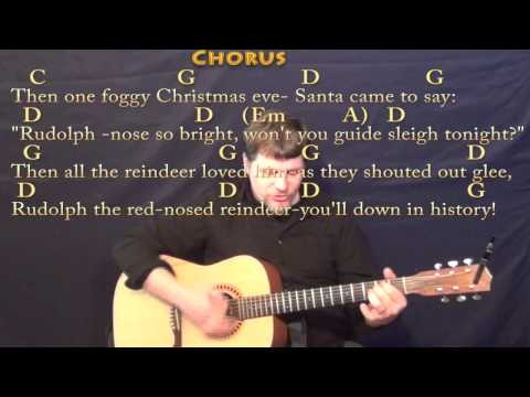 Rudolph the Red-Nosed Reindeer - Strum Guitar Cover Lesson in G with Chords/Lyrics