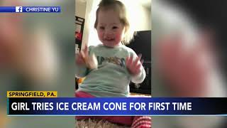 Delaware County mother shares adorable video of daughter eating first ice cream cone