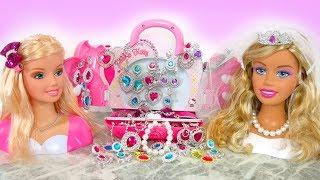 New Barbie Styling Head Dolls Toy Jewelry Necklace Accessories Cosmetics Boneka kepala Barbie Boneca