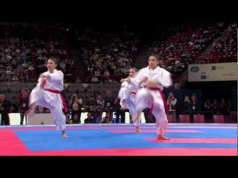(1/2) Bronze Female Team Kata Egypt vs Spain. WKF World Karate Championships 2012