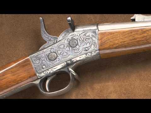 Nimschke engraved Remington Rolling Block rifle.  National Firearms Museum Treasure Gun.
