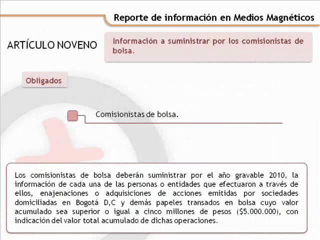 Reporte de información en Medios Magnéticos - resolución 112487 de 2011